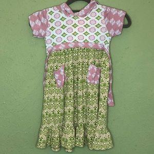Flit & Flitter Boho Purple & Green Hooded Dress 4T
